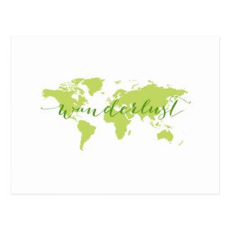 Wanderlust, mapa do mundo cartão postal