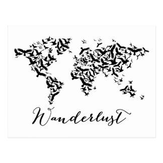 Wanderlust, mapa do mundo com pássaros de vôo cartão postal