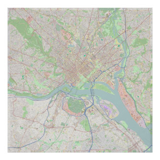 Washington, C.C. mapa de 40 polegadas com detalhe Poster