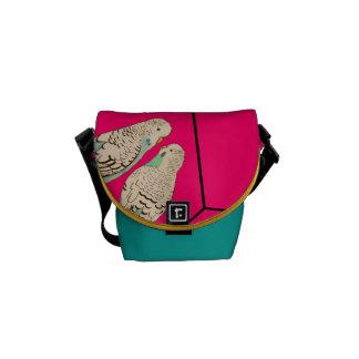 Watercolour do saco azul do rosa dos pares de bolsa mensageiro