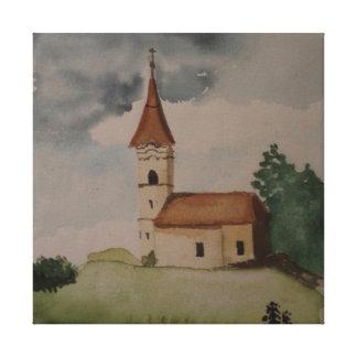 Watercolour inglês medieval da igreja impressão em tela