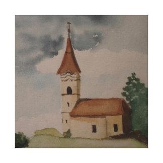 Watercolour medieval da igreja impressão em canvas