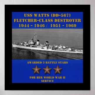 Watts de USS DD-567 Posteres