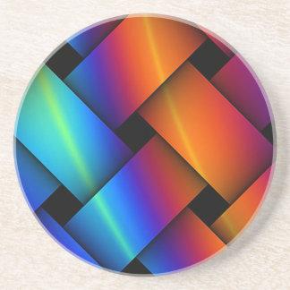 Weave de cesta do arco-íris porta copos de arenito