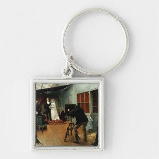 Wedding no fotógrafo, 1878-9 chaveiro quadrado na cor prata