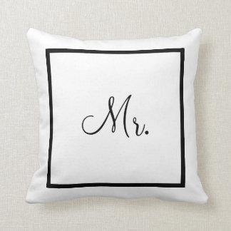 Wedding o Sr. branco e preto de   Travesseiros