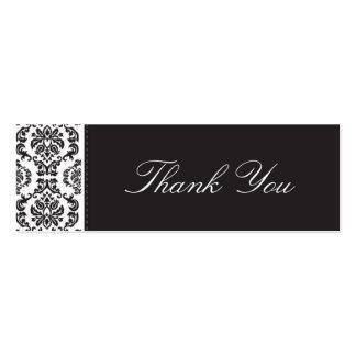 WEDDING obrigado etiquetar damasco - preto 2 Cartoes De Visita