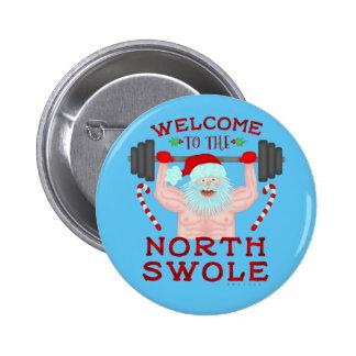Weightlifter engraçado de Papai Noel Swole do Bóton Redondo 5.08cm