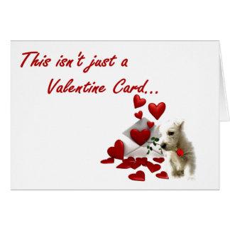 Westie aumentou com corações de flutuação cartão comemorativo