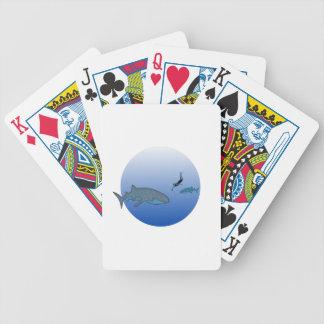 Whalesharks e mergulhador livre cartas de baralhos