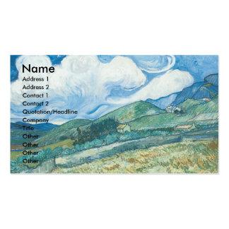 Wheatfields com a montanha no fundo cartão de visita