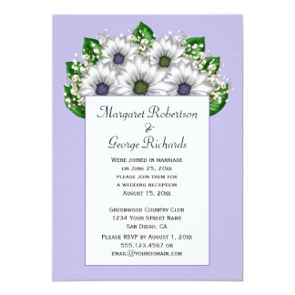 White Daisies Purple Green Centers Reception Only Convite 12.7 X 17.78cm