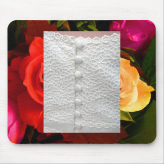 White Wedding Gown Red Yellow Roses Mousepad Mouse Pads