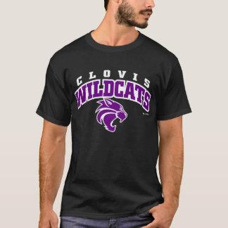Wildcats de Clovis arqueados rotulando o t-shirt