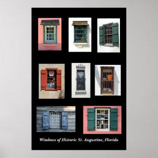 Windows velho de St Augustine histórico, Florida Poster