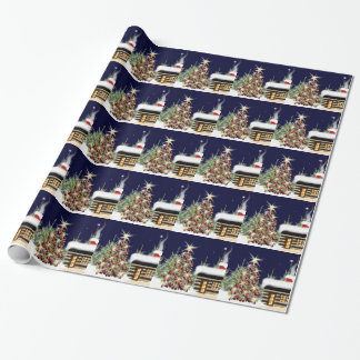 Winter Forest Christmas Cabin Holiday Scene Wrapping Paper