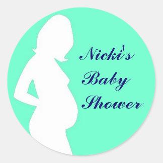 Woman Pregnant Label Adesivo