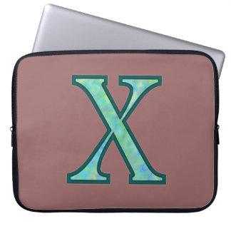X monograma iluminado capas para laptop