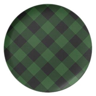 Xadrez acolhedor xadrez do búfalo verde e preto de prato
