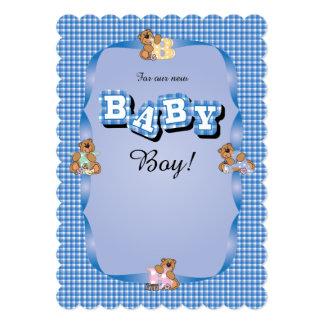 Xadrez adorável bonito com ursos do bebê convite 12.7 x 17.78cm