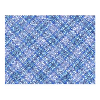Xadrez azul de Tartain do efeito do brilho Cartão Postal