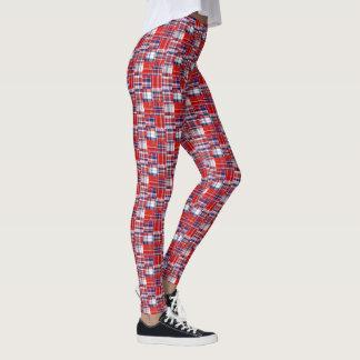 Xadrez branca vermelha formal do estilo dos leggings
