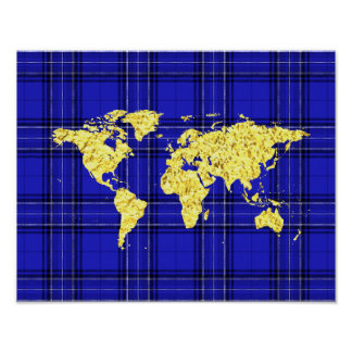 Xadrez do azul do mapa do mundo do ouro pôster