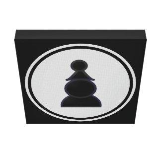 Xadrez preta do penhor impressão em tela