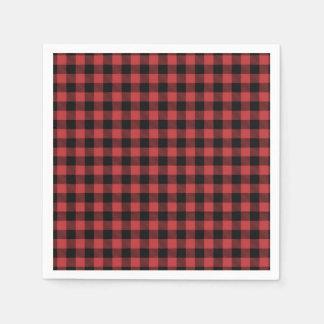 Xadrez preta vermelha do guardanapo de papel do
