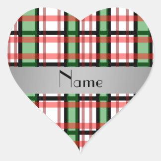 Xadrez vermelha verde conhecida personalizada adesivos de corações