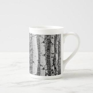 Xícara De Chá Design preto e branco do tronco de árvore do