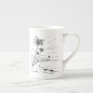Xícara De Chá Palmeiras e vida da praia do borrelho