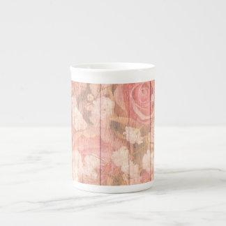 Xícara De Chá Rosas cor-de-rosa do chique do país