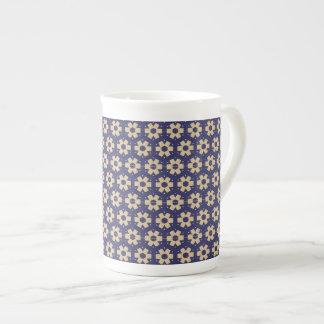 Xícara De Chá Teste padrão azul escuro e bege