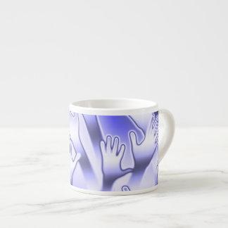 Xícara De Espresso Mãos amiga azuis metálicas
