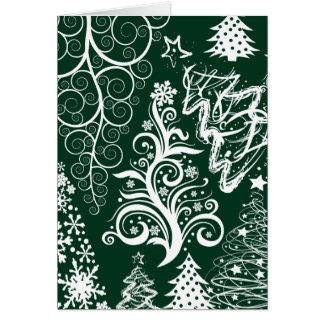 Xmas festivo das árvores de Natal do verde do Cartão Comemorativo