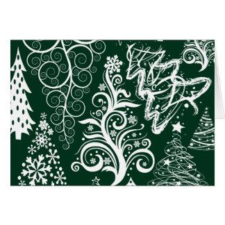 Xmas festivo das árvores de Natal do verde do Cartão De Nota
