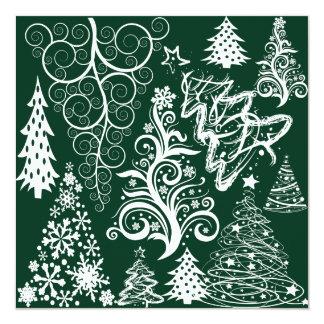 Xmas festivo das árvores de Natal do verde do Convite Personalizado