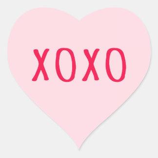 XOXO abraça e beija o coração cor-de-rosa do dia Adesivo Em Forma De Coração