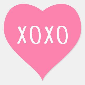 XOXO abraça e beija o coração cor-de-rosa do dia Adesivo Coração