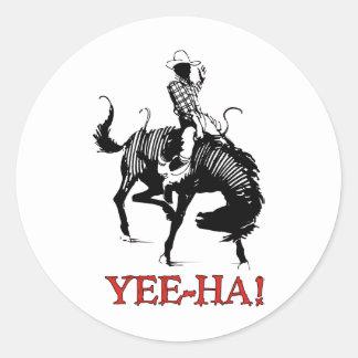 Yee-Ha! Vaqueiro do rodeio no garanhão bucking do Adesivo