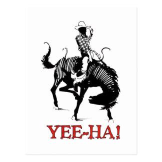 Yee-Ha! Vaqueiro do rodeio no garanhão bucking do Cartão Postal