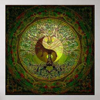 Yin verde Yang com a árvore de vida Póster