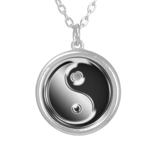 yin yang colar banhado a prata