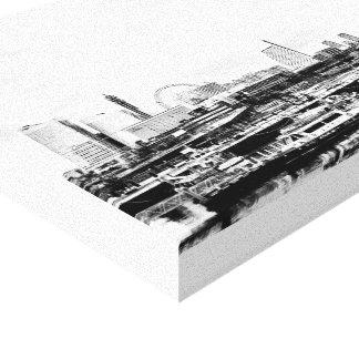 Yokohama em preto e branco impressão em tela canvas