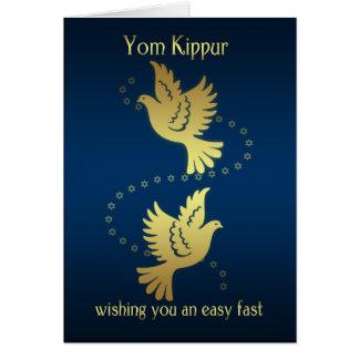 Yom Kipur - pombas do efeito do ouro Cartão Comemorativo