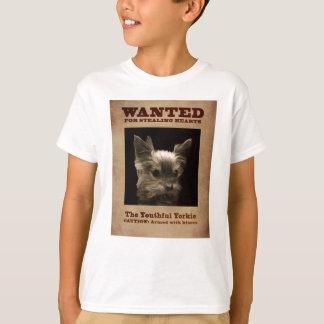 Yorkie jovem quis o t-shirt da criança