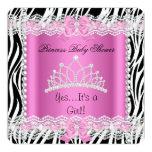 Zebra 2 do rosa do bebé da princesa chá de fraldas convite personalizados