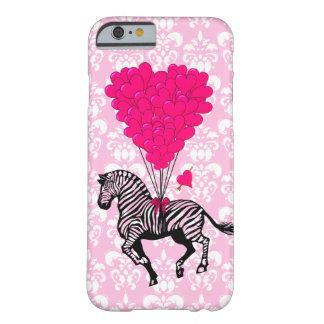 Zebra do vintage & balões cor-de-rosa do coração capa barely there para iPhone 6