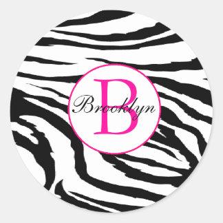 Zebra e etiqueta da inicial do rosa quente adesivo